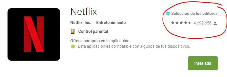 Netflix aplicación Android